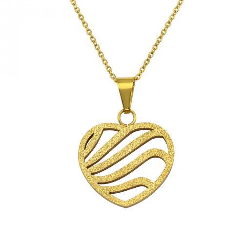 99cefb8b5 Dámsky náhrdelník s príveskom Srdce – zlatý, chirurgická nehrdzavejúca oceľ